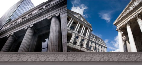 Images of banks and solid buildings